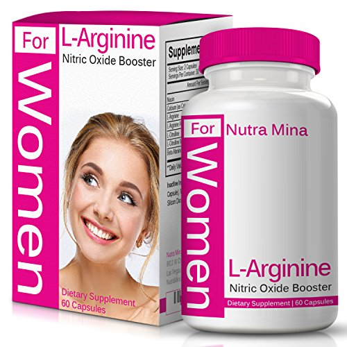 L-arginine for Women, with Essential Amino Acids to Boost Nitric Oxide Levels, Endurance and Energy, with Beta Alanine to Fight Fatigue, Made in USA - 60 Veggie Capsules