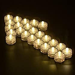 Submersible LED Lights, Waterproof Wedding Underwater LED Tea Lights Candles for Centerpieces/Party/Christmas set of 24, Warm White
