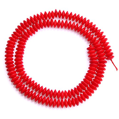 (JOE FOREMAN 3x7mm Red Coral Semi Precious Gemstone Rondelle Loose Beads for Jewelry Making DIY Handmade Craft Supplies 15