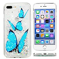 iPhone 8 Plus Case, iPhone 7 Plus Case Glitter Liquid Bling Sparkle Quicksand Cover Shock Absorption Technology Skin Protective Bumper Soft Shell for iPhone 8 Plus/iPhone 7 Plus by Edauto (Butterfly)