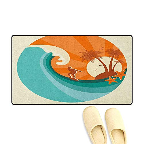 zojihouse Ride The Wave Door Mat Indoors Retro Man Surfing at Beach Island Coconut Palm Trees Illustration Size:24