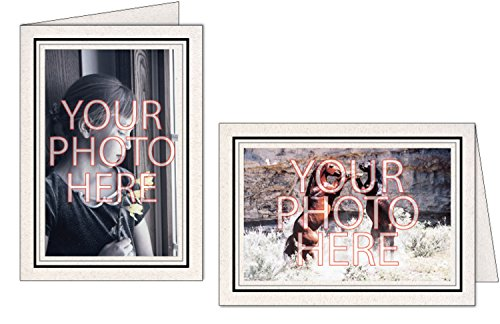 Photographer's Edge, Photo Insert Card, Natural with Double Border, Set of 10 for 4x6 Photos - Raven Black & Granite - Edge Photo