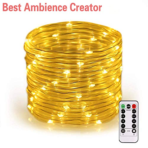(UPSTONE Rope String Lights, USB Powered, Dimmable, Warm White, Waterproof, 33ft 100 LED Indoor Outdoor Light Rope and String for Deck, Patio, Bedroom, Boat, Camping, Landscape Lighting and More)