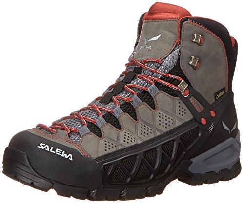 SalewaWS ALP FLOW MID GTX - zapatillas de trekking y senderismo de media caña mujer Gris  /  Rojo   (Charcoal / Indio 0793)