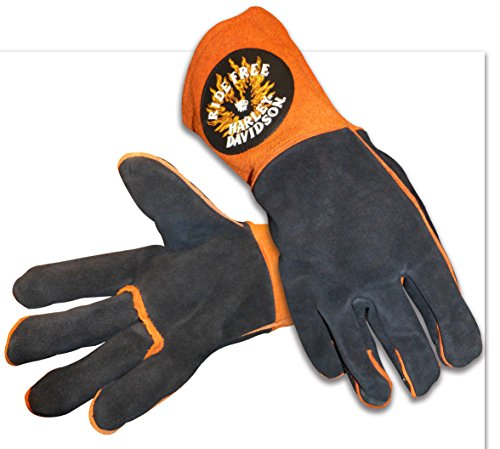 Harley Davidson Ride Free Welding Glove Size Large Leather Orange Black