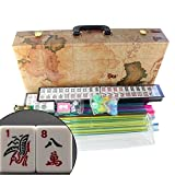American Mahjong Set in World Map Case with 18'' Set of 4 Pushers, 166 Tiles(Mah Jong mah Jongg Mahjongg)