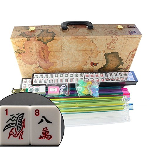 American Mahjong Set in World Map Case with 18'' Set of 4 Pushers, 166 Tiles(Mah Jong mah Jongg Mahjongg) by KT