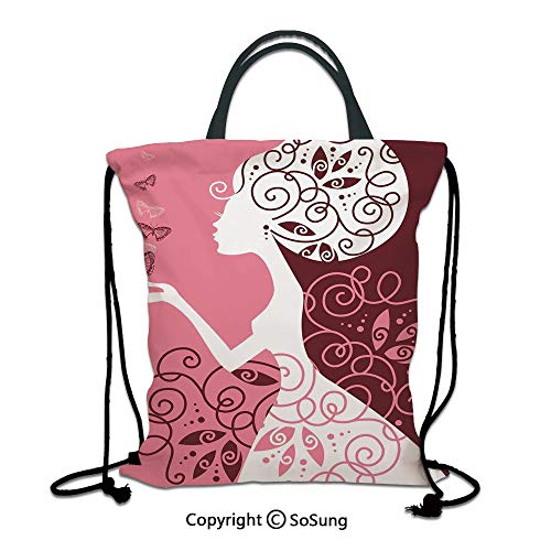 Pink 3D Print Drawstring Bag String Backpack,Artistic Drawing Girl with Butterflies Floral Ornaments Swirled Branches,for Travel Gym School Beach Shopping,Light Pink Maroon White