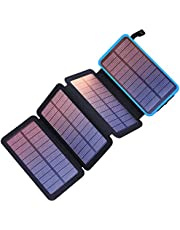 PEALIKER Solar Power Bank 25000mAh Portable Solar Charger with Dual USB 2.1A Output 4 Solar Panels Waterproof Battery Pack for Smartphones and Tablets Outdoor Camping