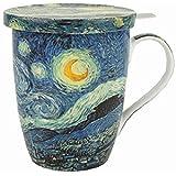 McIntosh MC020088 Van Gogh Starry Night Tea Mug with Lid, Multicolor