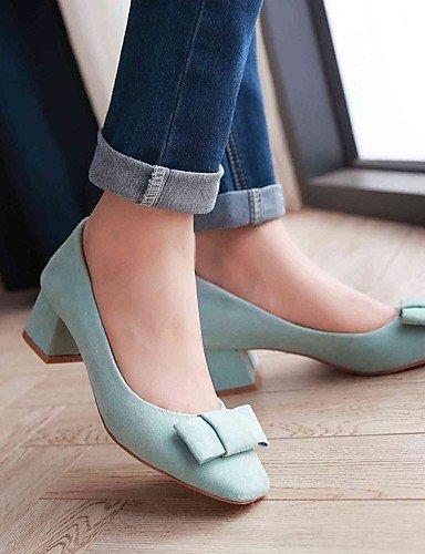 GGX/Damen Schuhe Fleece Sommer/Herbst Heels/quadratisch Fuß Heels Office & Karriere/Casual geschoben Ferse Schleife Blau/Grau blue-us6.5-7 / eu37 / uk4.5-5 / cn37