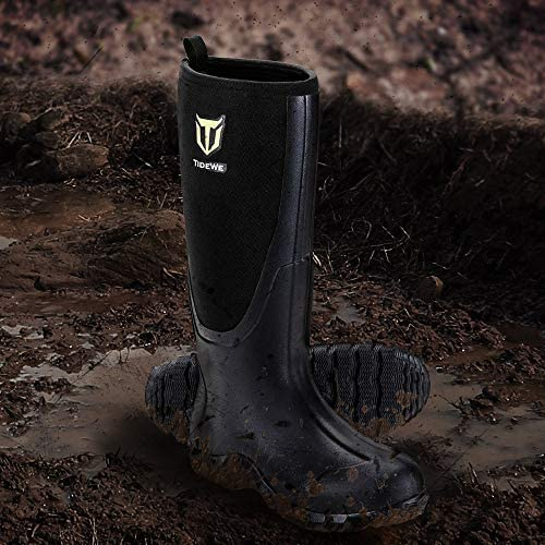 TIDEWE Rubber Boots for Men Multi-Season, Waterproof Muck Rain Boots with Steel Shank, 6mm Neoprene Durable Rubber Neoprene Outdoor Hunting Boots Realtree Edge Camo (Black, Brown & Camo)