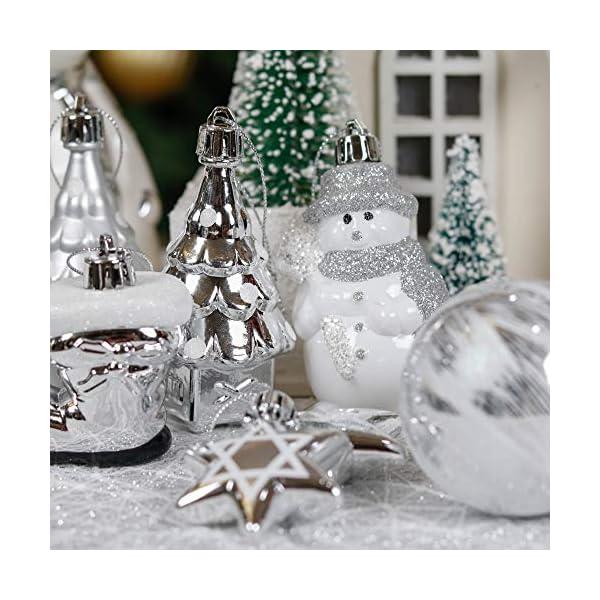 Valery Madelyn Palle di Natale 50 Pezzi di Palline di Natale, 3-5 cm congelato Inverno Argento e Bianco Infrangibile Ornamenti Palla di Natale Decorazione per la Decorazione Dell'Albero di Natale 7 spesavip