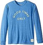 The Original Retro Brand Kids Boy's Good Times Only Long Sleeve Tri-Blend Tee (Big Kids) Streaky Royal Small