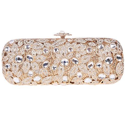Fawziya Baguette Flower Purses With Rhinestones Crystal Evening Clutch Bags-Gold