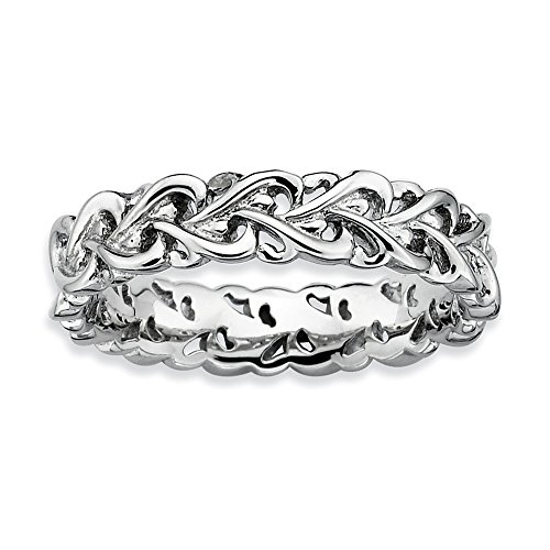 Sterling Silver Stackable Expressions Polished Intertwined Heart Ring from Jewels By Lux