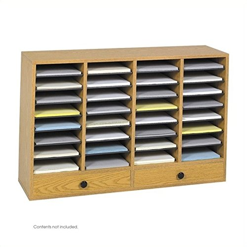 (Safco Products Wood Adjustable Literature Organizer, 32 Compartment with Drawers, 9494MO, Medium Oak, Durable Construction, Removable Shelves, Stackable)