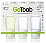 Humangear GoToob 3-Pack Travel Bottle,Clear/Green/Blue, Small (1.25 Oz)