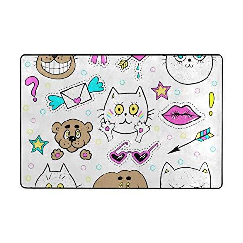 (CANCA Cute Cat Animal Cartoon Fish Dog Area Rug Runner Floor Mat Doormat Carpet Cover Pad for Kids Boys Girls Bedroom Living Room Dining Hall 80x58 inch or 6.7x4.8 Feet)