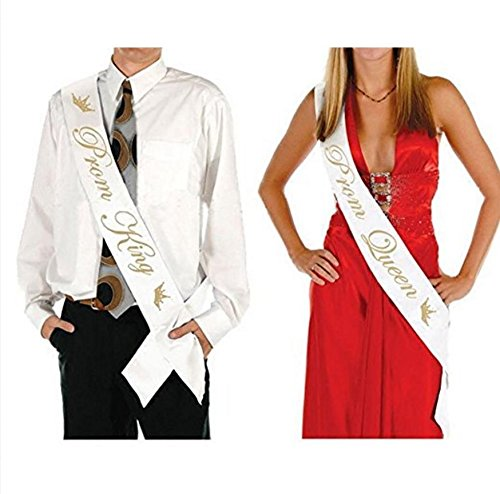 "Prom King And Queen (Adfun 2 Pack PROM KING"" And ""PROM QUEEN"" Stain Sashes – Graduation Party School Party Accessories)"