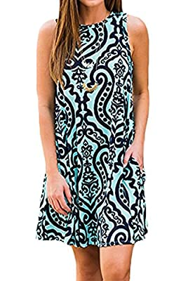 Andaa Women's Summer Casual Sleeveless Long Tunic Tops Crew Neck Floral Printed Loose T-Shirt Dresses with Pockets