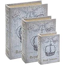 Conjunto Book Boxes Coroa Cinza - 3 Peças - em Madeira - 30x21,5 cm