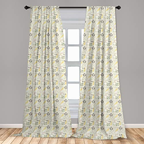 """Ambesonne Grey and Yellow Curtains 2 Panel Set, Vintage Farm Life Modern Inspired Florals Bugs Image, Lightweight Window Treatment Living Room Bedroom Decor, 56"""" x 84"""", Charcoal Grey Marigold"""