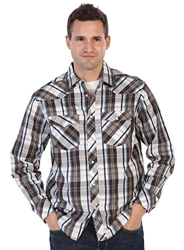 (Gioberti Men's Western Plaid Shirt with Pearl Snap-on, Brown/Navy/Khaki & White Contrast, Size X-Large )