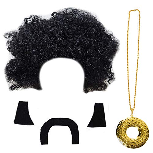 Tigerdoe Disco Costume Men - Afro Wigs - Disco Accessories - Rock Disco Costume - 70's Costumes - 4 Pc ()