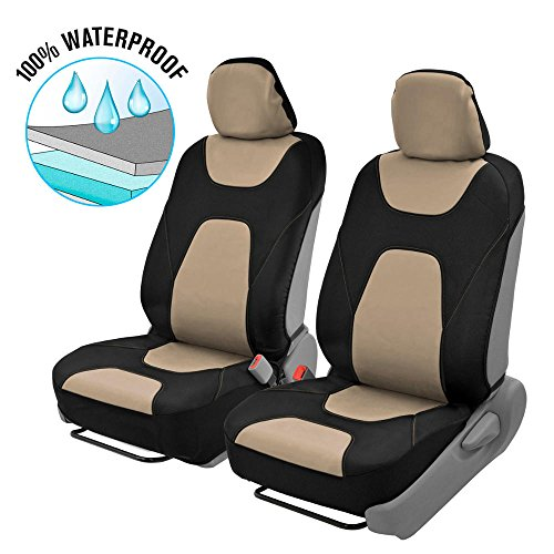 Motor Trend 3 Layer Waterproof Car Seat Covers - Modern Sideless Quick Install Auto Protection (Black & Beige) -