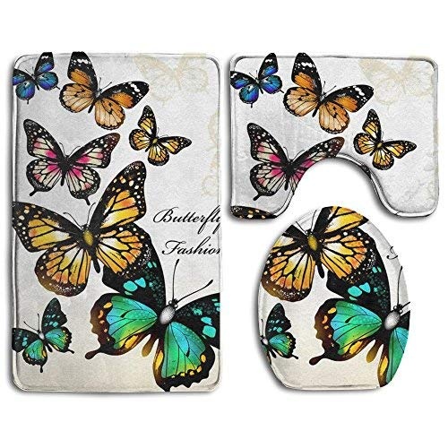 HOMESTORES Fashion Butterfly Colorful Monarch Butterflies Skidproof Toilet Seat U Shape Cover Bath Mat Lid Cover 3 Piece Non Slip Bath Rug Mats Sets For Shower SPA