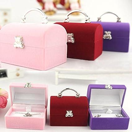 Desconocido Generic S, rojo: portátil caja de joyería anillo Collar cajas de almacenamiento joyas