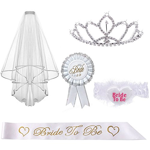 Kyerivs Bride to be Decoration Set for Bachelorette Party Supply,Rhinestone Tiara,Bridal Wedding Veil,Bride to Be Sash,Rosette Badge and Garter for Bridal Shower Decorations for $<!--$12.99-->