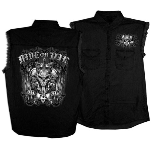 Hot Leathers Ride or Die Skull Sleeveless Shirt (Black, Large)