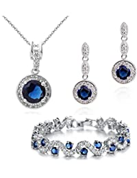 Teardrops 18 ct Gold Plated Blue Simulated Sapphire Zirconia Crystals Set Necklace Earrings Bracelet uhjmGZ