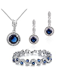 Charming 18 ct Gold Plated Blue Simulated Sapphire Zirconia Austrian Crystals Set Necklace Earrings Bracelet