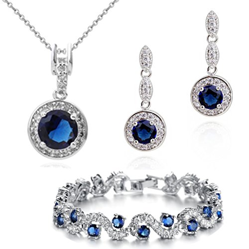 Round Necklace Earring Set - Blue Simulated Sapphire Zirconia Austrian Crystals Round Set Pendant Necklace 18