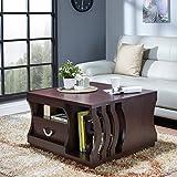 Furniture of America Barclan Contemporary Slatted Espresso Square Coffee Table