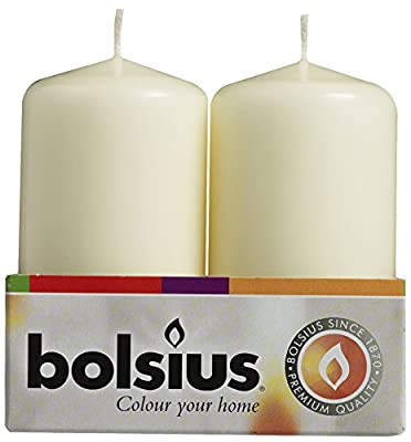 BOLSIUS Pack of 4 Ivory Pillar Candles Aprox 2x4 Inch
