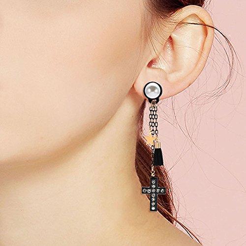 (Opeof Earrings Gothic Cross Star Charm Tassel Shiny Rhinestone Women Ear Stud Dangle Earrings - Black)