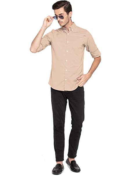 e92c05f69568 Nick Jess Mens Solid Beige Semi Formal Cum Casual Oxford Cotton Slim Fit  Shirt  Amazon.in  Clothing   Accessories
