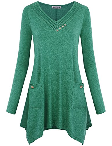 (MOQIVGI Fall Tops Women,Autumn Winter Clothes Fashion Knit V Neck Long Sleeve Tunics Daily Wear Uneven Hem Stretch Easy Fit Cute Holiday Blouse Shirts Novel Design Soft Comfy Outfits Green Large)