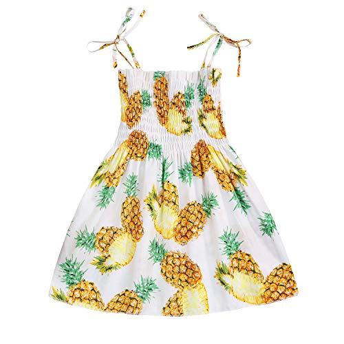 - Kids Toddler Baby Girls Summer Dress Outfits Ruffle Strap Sunflower Print Tutu Skirt Sunsuit Beachwear Clothes Set (Pineapple, 2-3 Years)