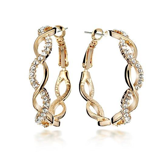Gemini Women 18K Fill Swarovski zirconia Crystal Round Hoop Pierce Earring birthday Gift Sz 4cm Diameter