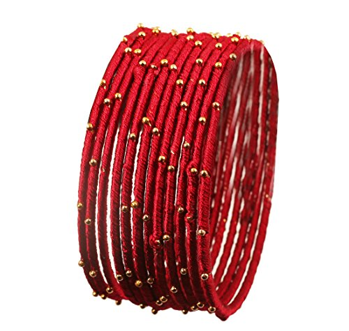 Touchstone New Silk Thread Bangle Collection Indian Bollywood Handcrafted Faux Silk Thread Exotic Look with Golden Beads Lipstick Red Designer Bangle Bracelets Set of 12 for Women.