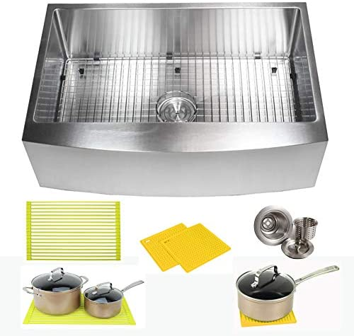 33 Inch Farmhouse Apron Front Stainless Steel Kitchen Sink Package 16 Gauge Curved Front Single Bowl Basin Complete Sink Pack Bonus Kitchen Accessories