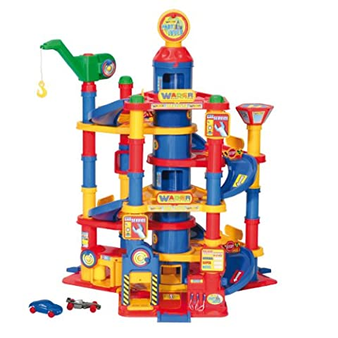 Wader Park Tower Playset With Cars - 7 Floors - Toy Parking Garage Elevator