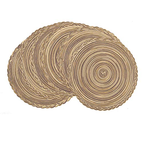 U'Artlines 15 Inch Round Cotton Placemats Non Slip Heat Resistant Braided Table Mats for Fall, Dinner Parties, BBQs, Indoor and Ourdoor Use (6pcs placemats, A Brown) (Patio For Placemats Table Round)
