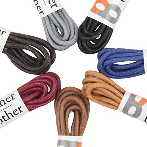 Brother Brother Colored Oxford Shoe Laces for Men (7 Pairs) | 100% Cotton Round and Waxed Shoelaces for Dress Shoes | Gift Box with Black, Burgundy, Brown, Dark Brown, Tan, - Brown Burgundy