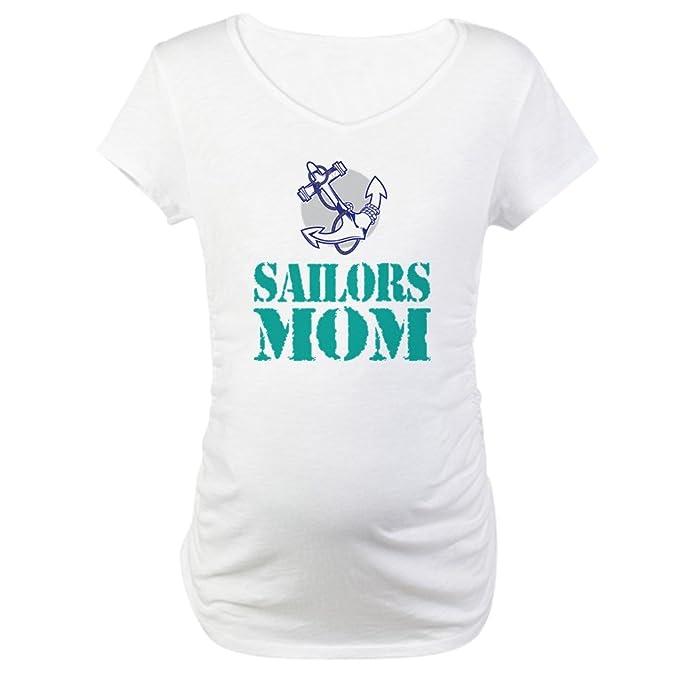 67488f7b9 CafePress Sailor's Mom Navy Cotton Maternity T-Shirt, Cute & Funny ...
